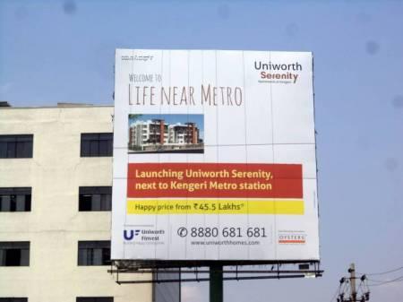 Billboard OOH advertising in uniworthserenity,Bengaluru, Karnataka, India