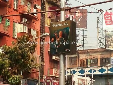 Lamppost OOH advertising in Rashbehari,Kolkata, West Bengal, India