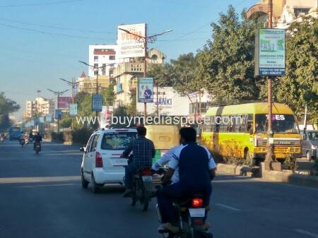 Lamppost OOH advertising in kalawad road,Rajkot, Gujarat, India